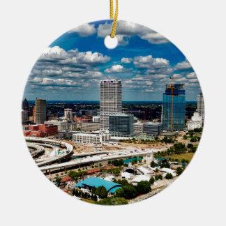 Milwaukee-Skyline Rundes Keramik Ornament