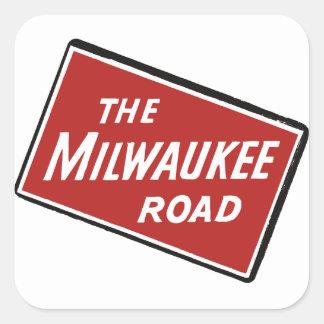 Milwaukee-Straßen-Bahnzeichen 2 Quadratischer Aufkleber
