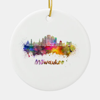 Milwaukee V2 skyline im Watercolor Keramik Ornament