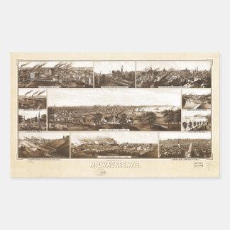 Milwaukee, Wisconsin durch Beck u. Pauli (1882) Rechteckiger Aufkleber