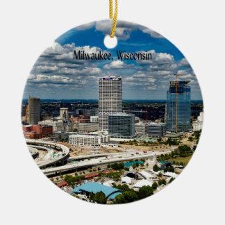 Milwaukee, Wisconsin-Stadtbild Rundes Keramik Ornament