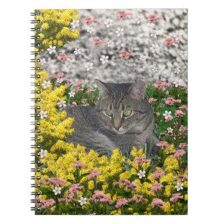 Mimose die Tiger-Katze in den Mimosen-Blumen Spiral Notizblock