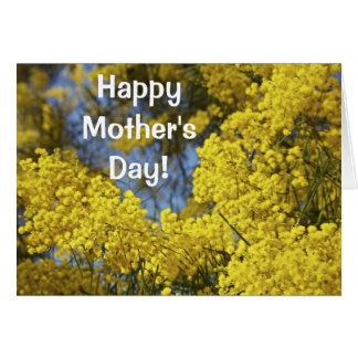 Mimose in der Karte der Blüten-Mutter Tages