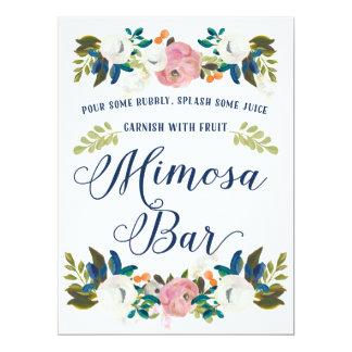 Mimosen-Bar-Brautparty-Zeichen Karte