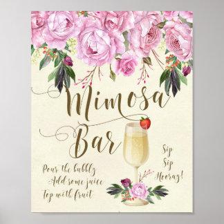 Mimosen-Bar, das Zeichen-Flieder Wedding ist Poster