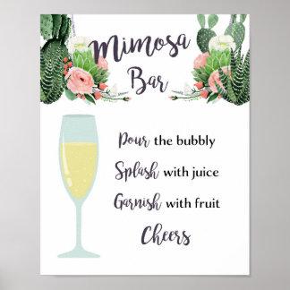 Mimosen-Bar-Zeichen Poster