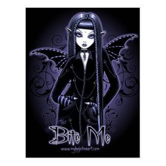 """""""Mina-"""" gotische Blaue beißen mich Postkarte"""