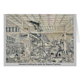 Minamoto, welches die Spinne durch Utagawa, Grußkarte