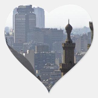 Minarette Ausblick von Sultan-Ali-Moschee Kairo Herz-Aufkleber