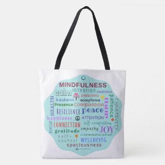 Mindfulness-Wort-Durcheinander-Taschen-Tasche Tasche