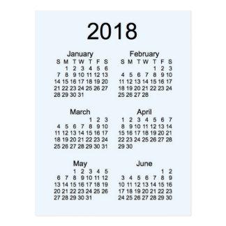 Mini 6-monatiger Kalender 2018 Postkarte