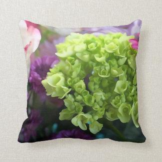 Mini grünes Hydrangea-Blumethrow-Kissen Zierkissen