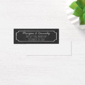 Mini moderne Imitat-Tafel-Hochzeit retten die Mini Visitenkarte