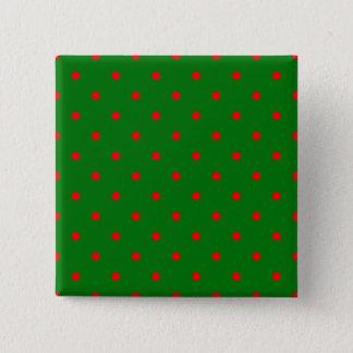 Mini rote Punkte auf Weihnachtsgrün Quadratischer Button 5,1 Cm