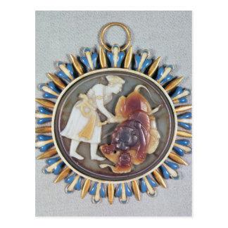 Miniatur, die Kaiser Shah Jahan Tötungslöwe Postkarte