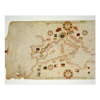 Miniaturseekarte des zentralen Mediterranea Postkarte