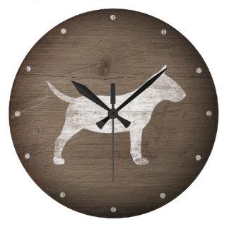 Miniaturstier-Terrier-Silhouette rustikal Große Wanduhr