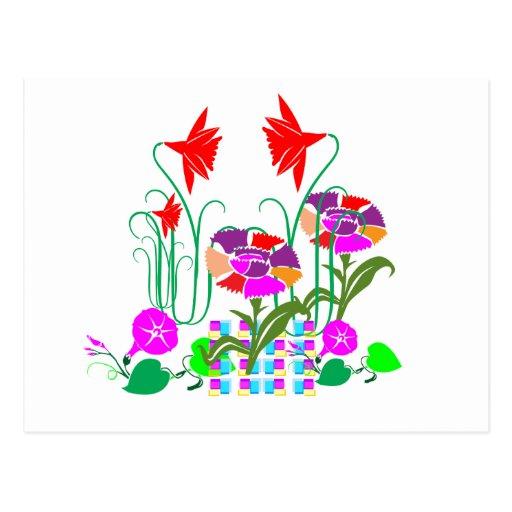 Minigarten: Blumen-Anordnung Postkarte