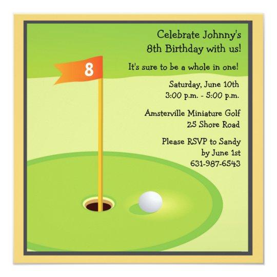 Minigolf Spiel Einladung Quadratische 13,3 Cm Einladungskarte