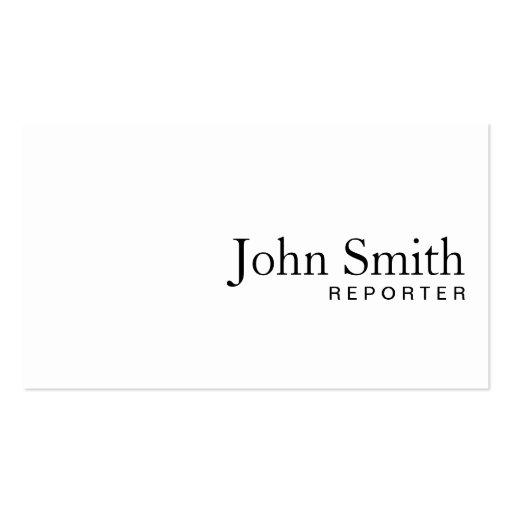 Minimale einfache weiße Reporter-Visitenkarte