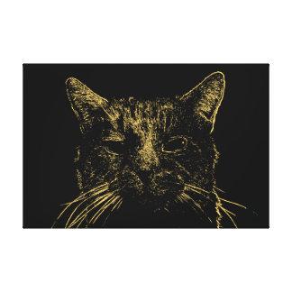 Minimale Katzen-Leinwand Leinwanddruck