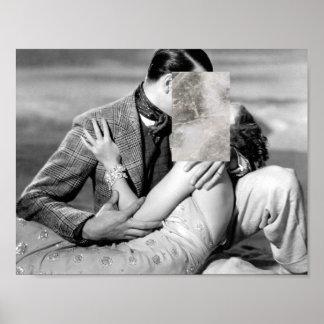 Minimale Liebe, die mit Marmordruck küsst Poster