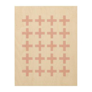 Minimale rosa geometrische Kreuze Holzwanddeko