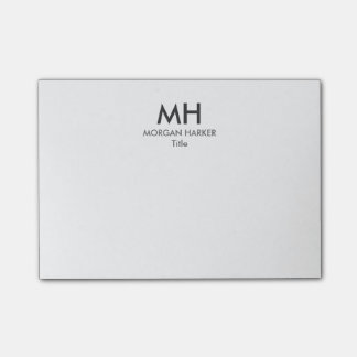 Minimale saubere Initialen-weißes Grau Post-it Klebezettel