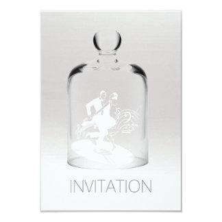 Minimale weiße graue silberne Ombre Glas-Tänzer 8,9 X 12,7 Cm Einladungskarte