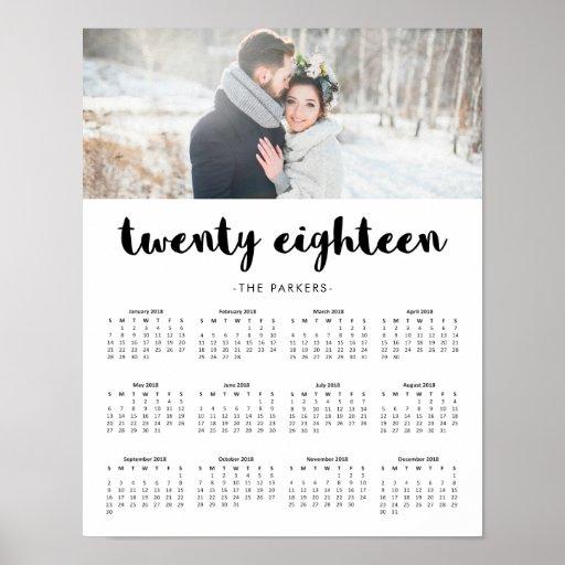 Minimaler moderner Typografie-Foto-Kalender 2018 Poster