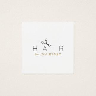 Minimaler sauberer eleganter weißes Haar-Stylist Quadratische Visitenkarte
