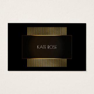 Minimaler Schwarz-weißer Goldrahmen-Friseur Visitenkarte