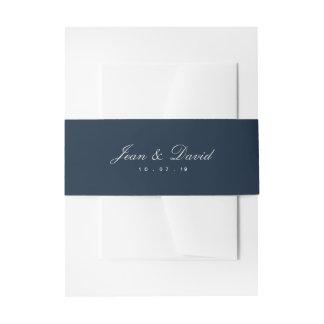 Minimales Hochzeits-Einladungs-Bauch-Band - Marine Einladungsbanderole