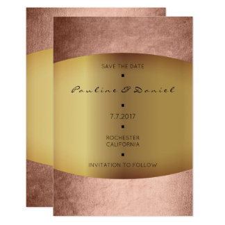 Minimales Save the Date rosa Rosen-Goldpulver Karte