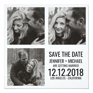 Minimales SCHWARZ-WEISSES multi Foto Save the Date Karte