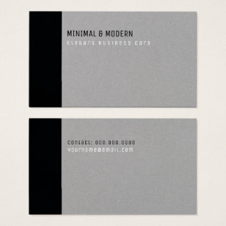 minimales u. modernes elegantes Schwarzes/Grau Visitenkarte