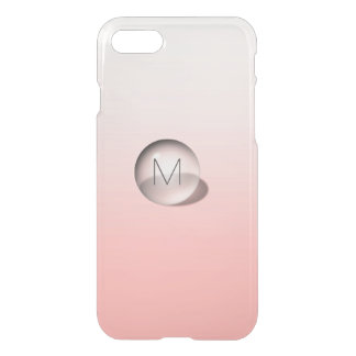 Minimalismus-Monogramm-Pastellrosa Ombre Ball iPhone 8/7 Hülle