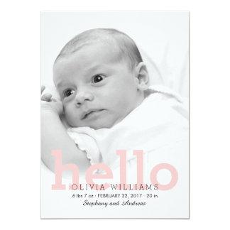 Minimalist-hallo Baby-Geburts-Foto-Mitteilung 12,7 X 17,8 Cm Einladungskarte