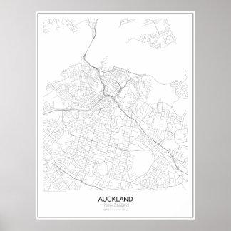 Minimalist-Karte Aucklands, Neuseeland Poster