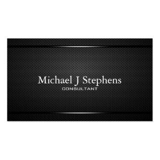 Minimalistic berufliches schwarzes Metall gemasert Visitenkarten