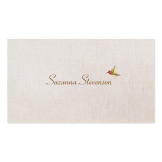 Minimalistic Kolibri-Leinenblick Visitenkartenvorlage