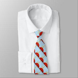Miniregenschirme. Blauer Hintergrund Bedruckte Krawatte