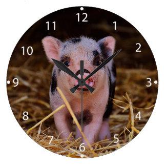 Minischwein Große Wanduhr