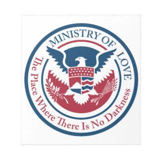 Ministerium der Liebe, offizielles Siegel Notizblock
