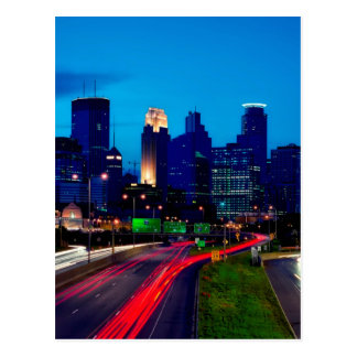 Minneapolis-NachtSkyline Postkarte