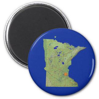 Minnesota-Karten-Magnet Runder Magnet 5,7 Cm