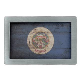 Minnesota-Staats-Flagge auf altem hölzernem Korn Rechteckige Gürtelschnalle