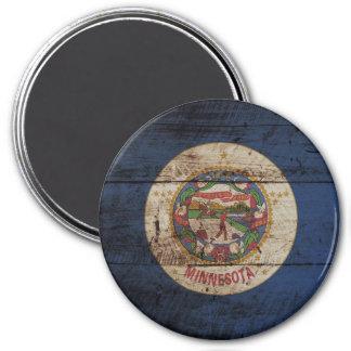 Minnesota-Staats-Flagge auf altem hölzernem Korn Runder Magnet 7,6 Cm