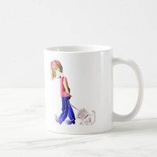 Minnie-ich! Junge gehende Westie Hundekunst Kaffeetasse