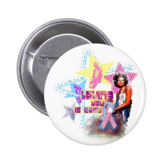 Minnie Pink Ribbon Pinback Buttons
